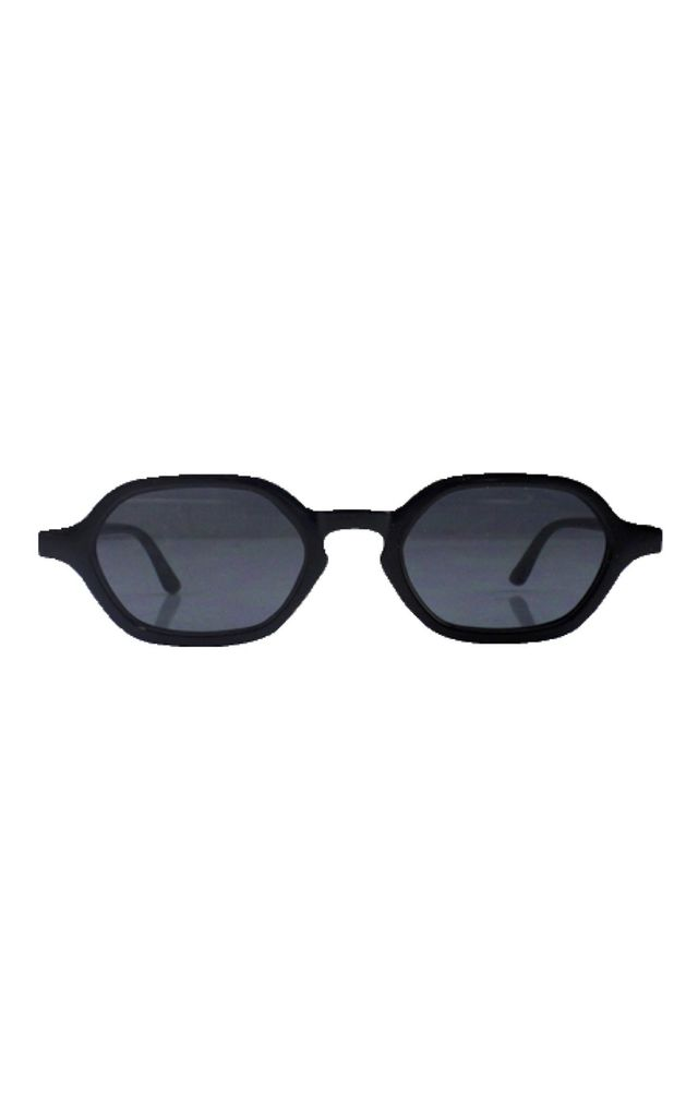 Squashed oval sunglasses in black by SVNX
