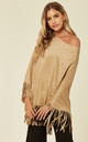 MOCK SUEDE TASSEL PONCHO TOP IN CAMEL by Malissa J Collection