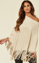 MOCK SUEDE TASSEL PONCHO TOP IN STONE by Malissa J Collection