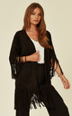 MOCK SUEDE JACKET WITH FRINGING IN BLACK by Malissa J Collection
