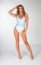Light Blue Scoop Back Swimsuit with Jewel Tie Waist by THE GLAMBASSADORS™ RESORTWEAR