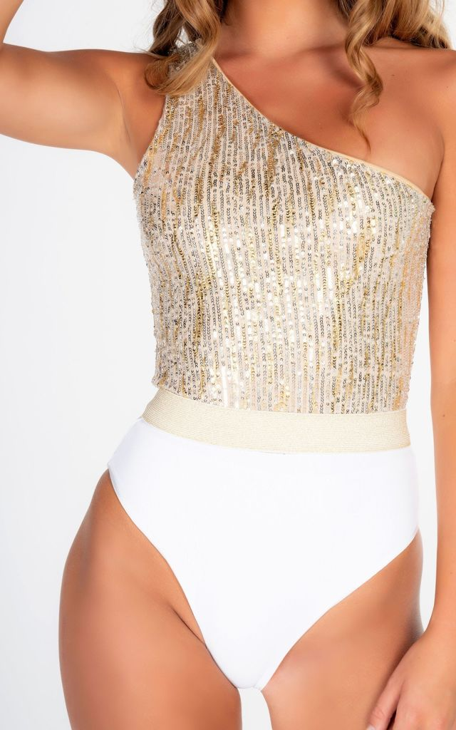 ONE SHOULDER SWIMSUIT WITH BELT in WHITE RIB AND GOLD by THE GLAMBASSADORS™ RESORTWEAR