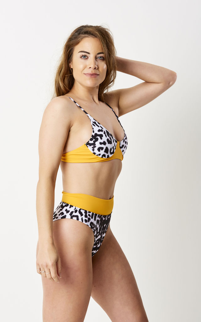 WILDING - High Waisted Leopard Print Bikini With Underwire and orange detail by GIRL ALLIANCE