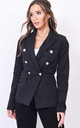 Military style tailored blazer jacket black by LILY LULU FASHION