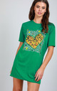 Mini Tshirt Dress with Leopard Heart in Green by Oops Fashion