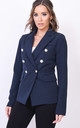 Military style tailored blazer jacket navy blue by LILY LULU FASHION