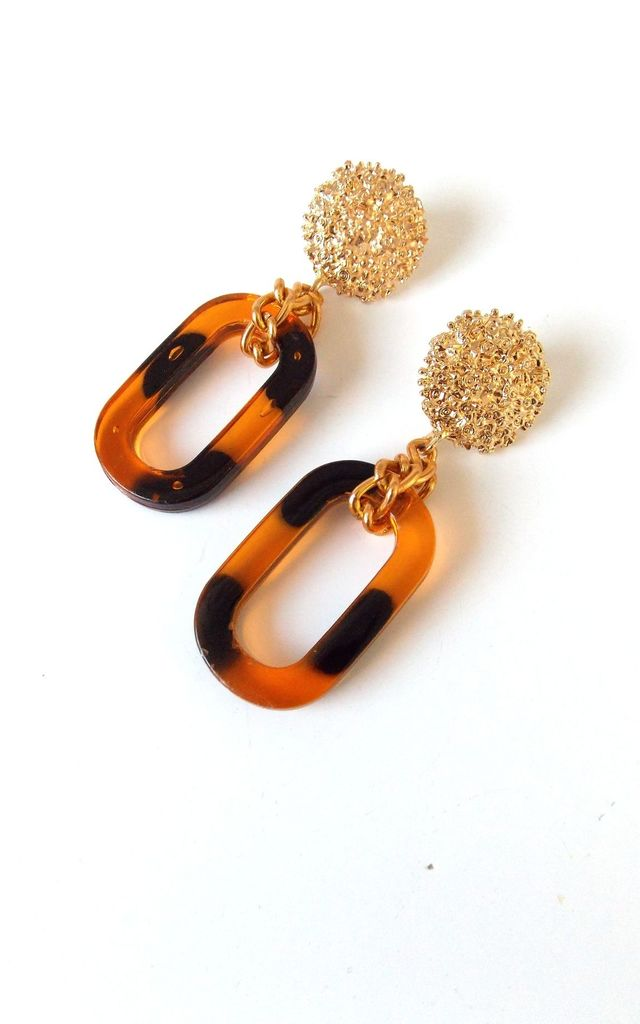 Tortoise Shell and Gold Chain Statement Earrings by Olivia Divine Jewellery