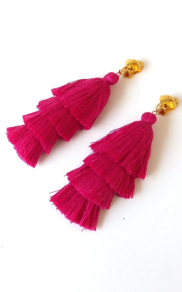Long Pink Tiered Tassel Clip-On Earrings by Olivia Divine Jewellery