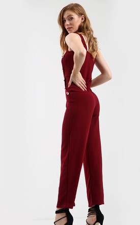Gold Button Wide Leg Jumpsuit in Wine Red by Oops Fashion