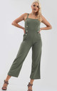 Gold Button Wide Leg Jumpsuit in Khaki by Oops Fashion