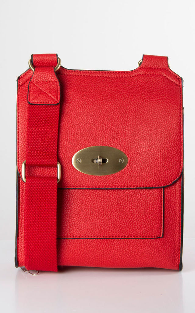 Red Faux Leather Messenger Bag by number 37