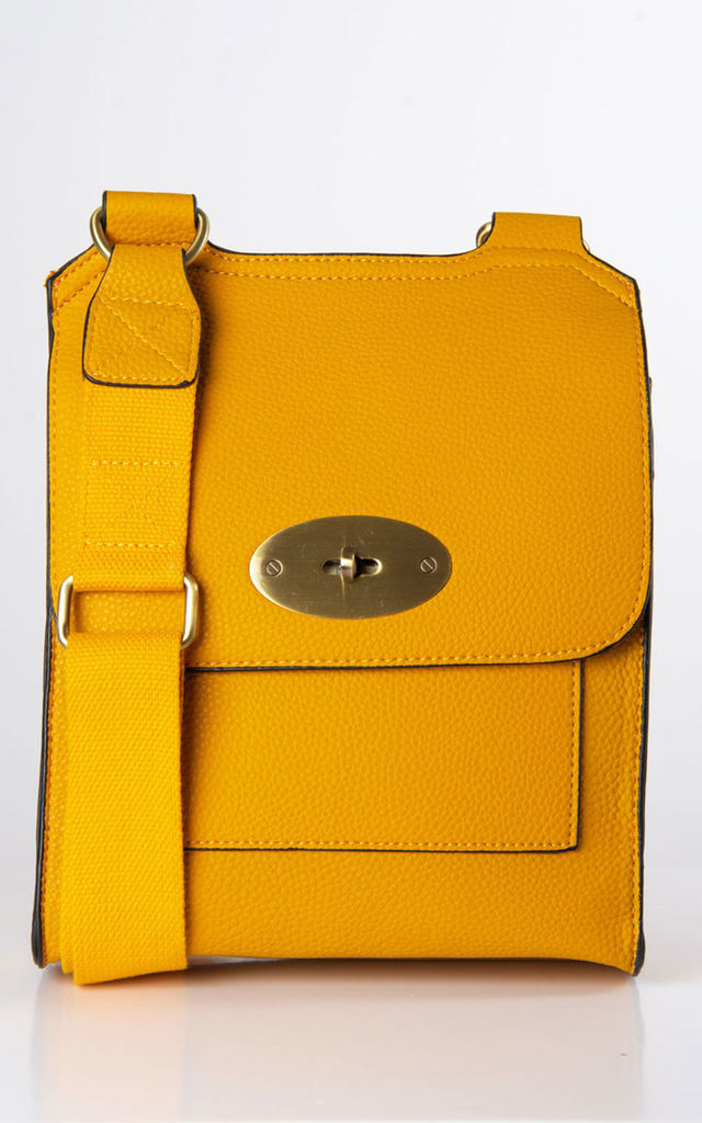 Yellow Faux Leather Messenger Bag by number 37