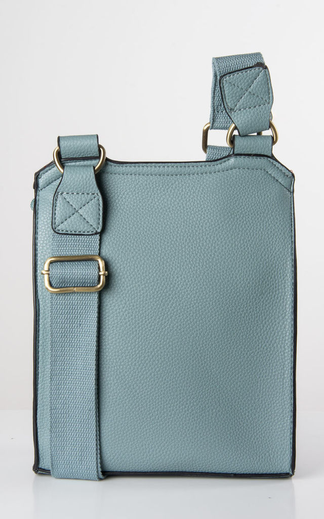 Pale Blue Faux Leather Messenger Bag by number 37