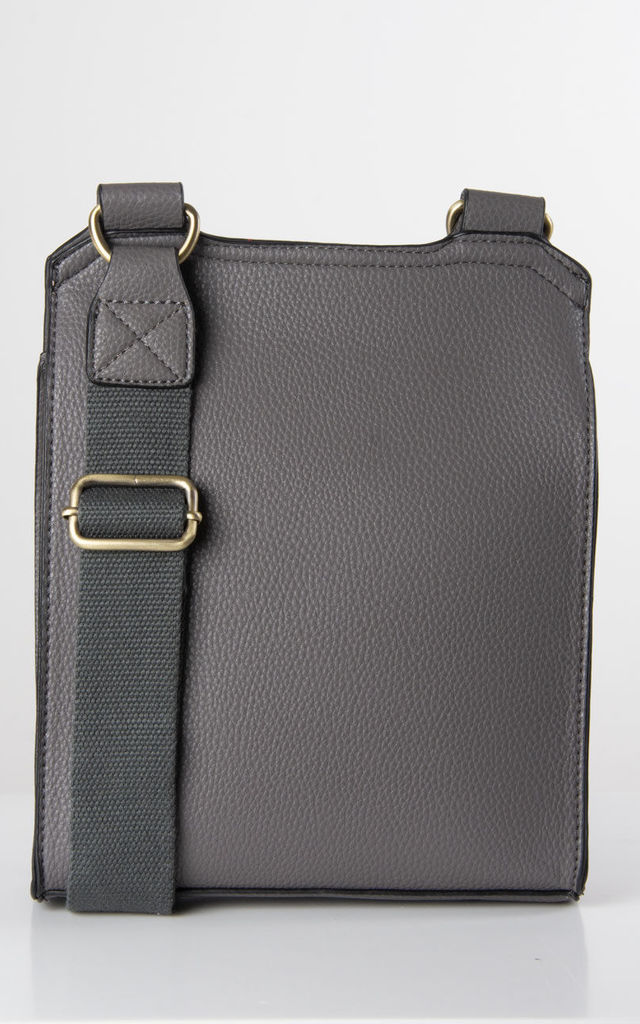 Dark Grey Faux Leather Messenger Bag by number 37