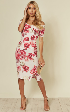 Bardot Off Shoulder Dress Floral Print Pink by Feverfish Product photo