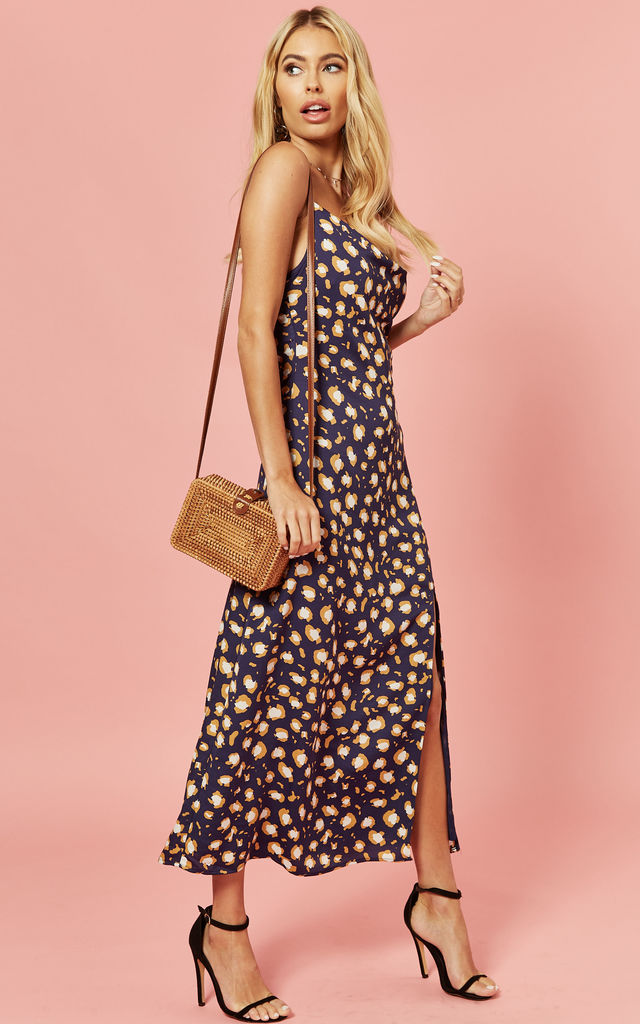 Cowl Neck Midi Dress in Leopard Multi by Glamorous