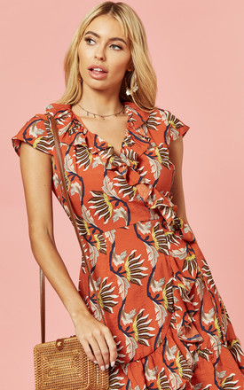 Rust Leaf Printed Wrap Skater Dress by Glamorous Product photo