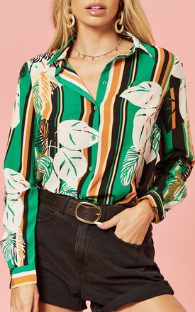 Button Front Blouse in Green Stripe Leaf Print by Glamorous