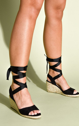 Lace Up Espadrille Wedge Sandals Suede Black by LILY LULU FASHION Product photo