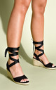 Lace Up Espadrille Wedge Sandals Suede Black by LILY LULU FASHION
