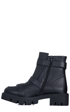 PUGLIA Block Heel Ankle Boots in Black Faux Leather by SpyLoveBuy