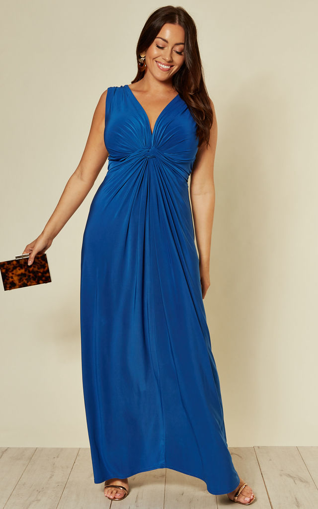Plus Size Twist Front Maxi Dress In Royal Blue By Praslin