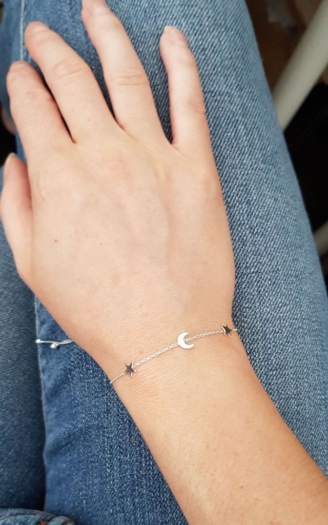 MOON AND STARS BRACELET STERLING SILVER by Lucy Ashton Jewellery