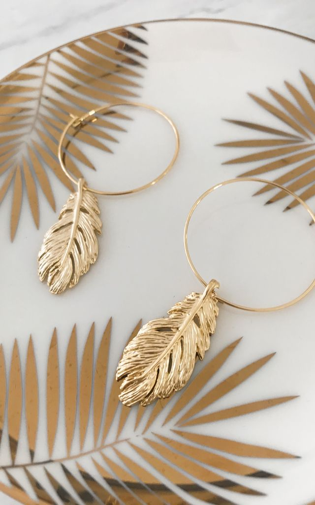 Gold Hoop Earrings with Boho Feathers by Gold Lunar