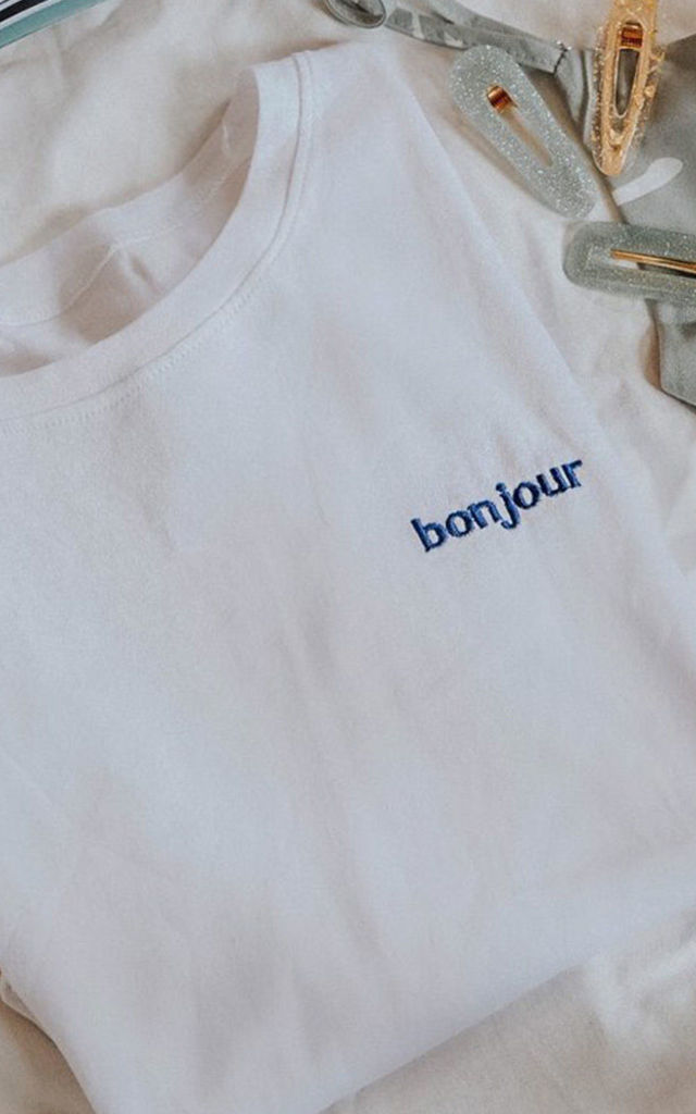 Esmee Bonjour Slogan T-shirt in White by Ajouter Store