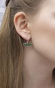 Little green alligator detachable charm huggie hoops by EPITOME JEWELLERY