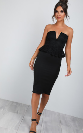 Strapless Lace Peplum Bodycon Dress in Black by Oops Fashion