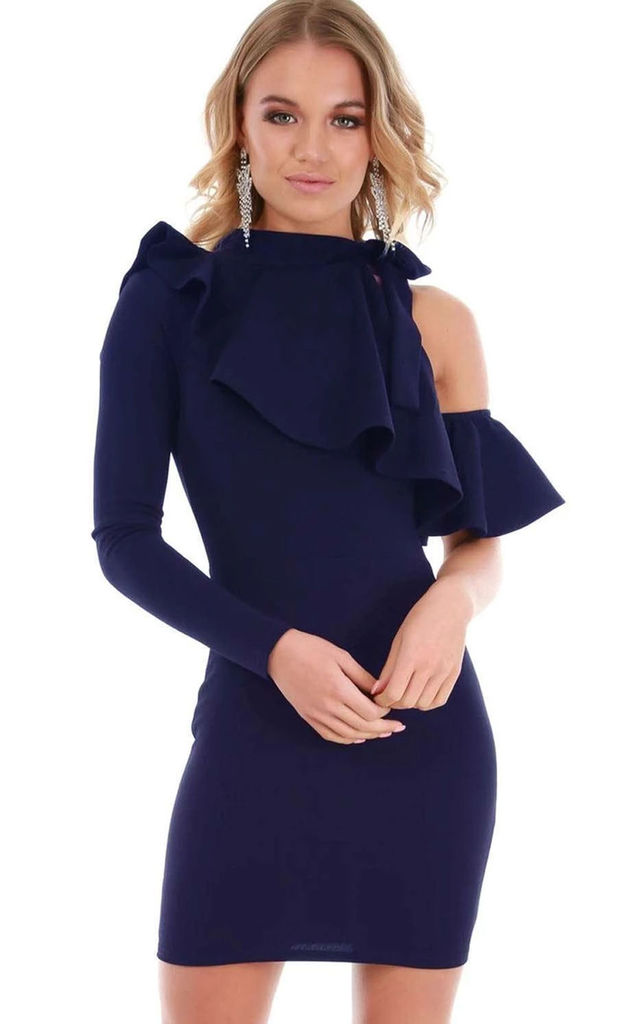 Navy One Sleeve Frilly Bodycon Mini Dress by Oops Fashion