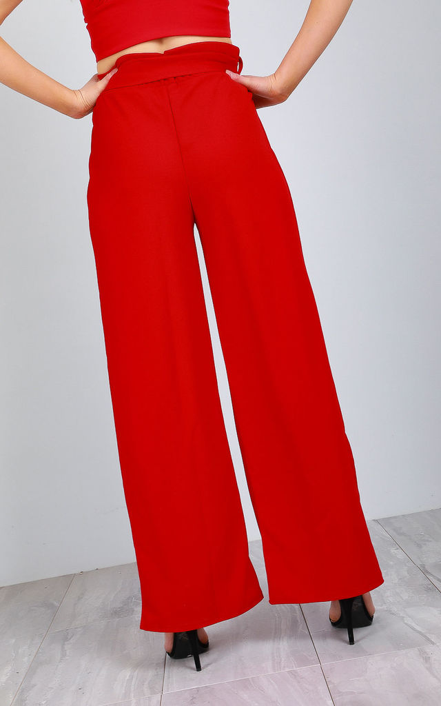 Red Paper Bag Wide Leg Trousers with High Waist by Oops Fashion