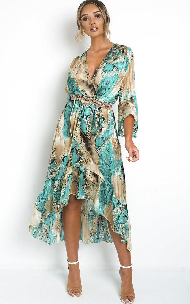 Anya Printed satin Floaty Maxi wrap Dress in tan and blue by IKRUSH