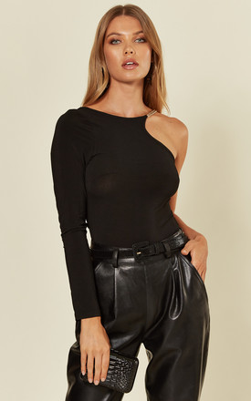 Black One Shoulder Bodysuit With Gold Detailing by AX Paris Product photo