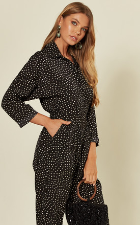Black Polka Dot Belted Jumpsuit by AX Paris