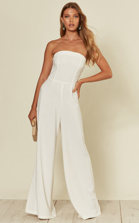 'Ivy' Strapless Bandeau Tailored Flared Jumpsuit In White by RiffRaff Clothing Product photo