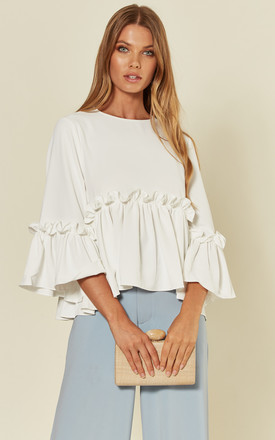'Ruffles' White Ruffle Blouse Top by RiffRaff Clothing Product photo