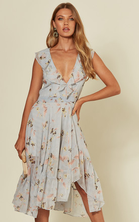 'Fleur' Floral Print Chiffon V Neck Midi Dress In Pale Blue by RiffRaff Clothing Product photo