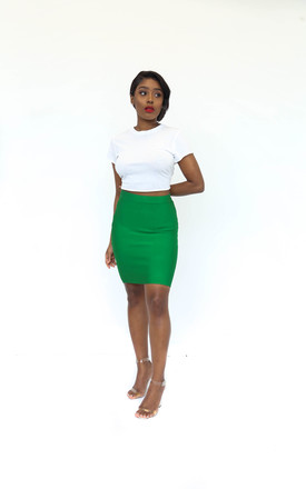 The Joel Mini Bandage Skirt in Green by Made By Issae