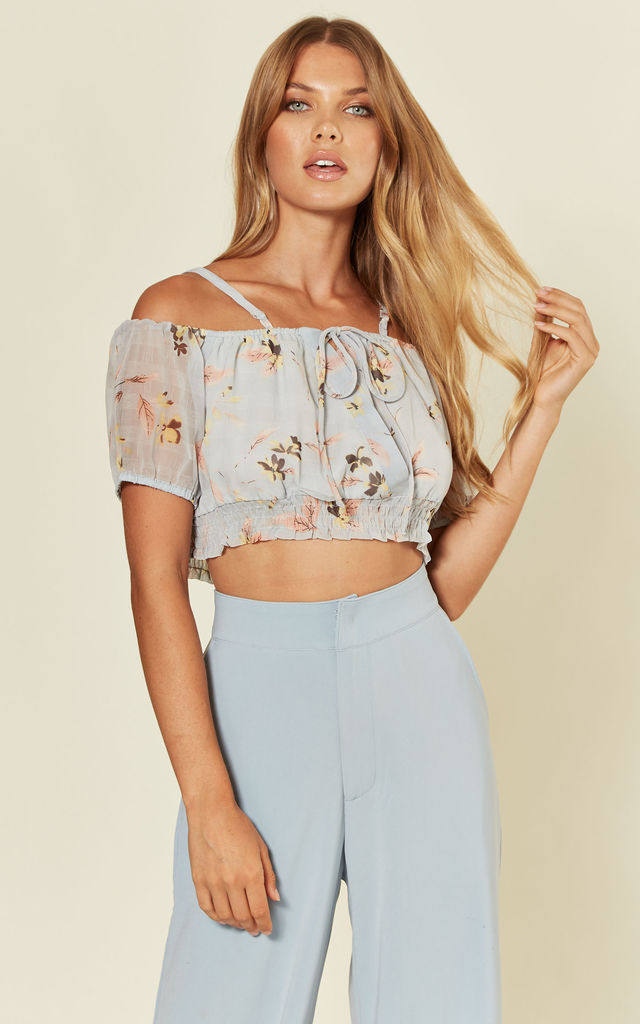 'Ren' Floral Print chiffon cold shoulder Crop Top in pale blue by RiffRaff Clothing