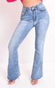 High waisted flare denim jeans light blue by LILY LULU FASHION