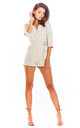 3/4 Sleeve Playsuit with Waist Tie in Beige by AWAMA