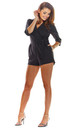 3/4 Sleeve Playsuit with Waist Tie in Black by AWAMA