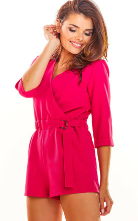 3/4 Sleeve Playsuit with Waist Tie in Pink by AWAMA