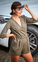 3/4 Sleeve Playsuit with Waist Tie in Khaki by AWAMA