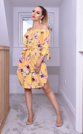 Reena Bardot Shirt Dress In Yellow Floral by Missfiga Product photo