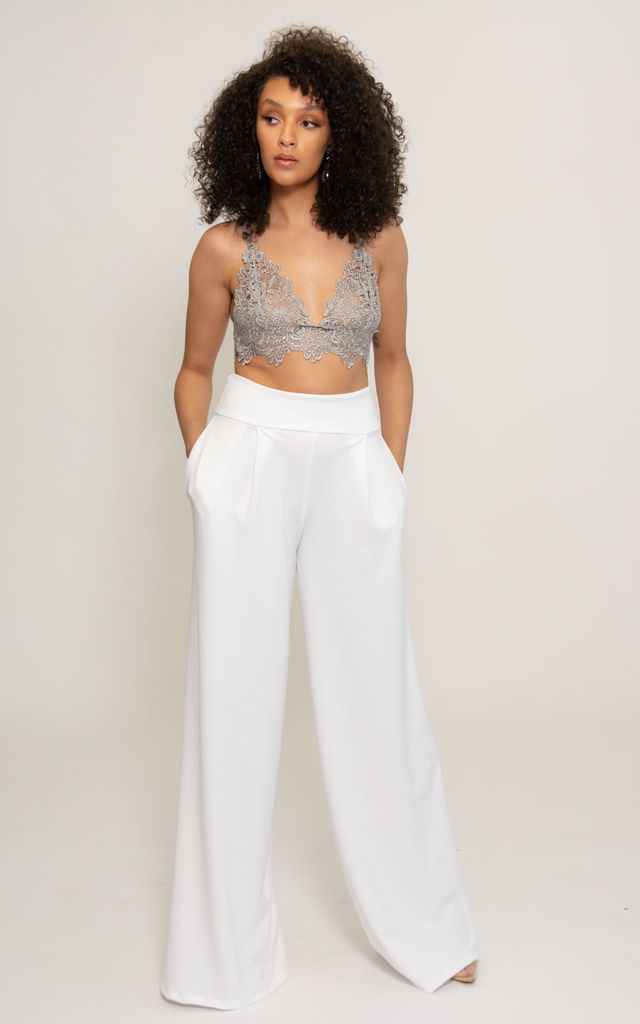Felicity Wide Leg High Waisted Trousers in White Crepe by SHE BY SOPHIE