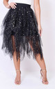 High waisted tiered tulle star sequin skirt black by LILY LULU FASHION