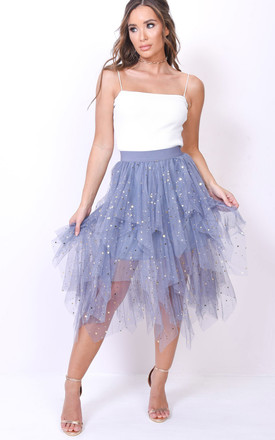 High waisted tiered tulle star sequin skirt grey by LILY LULU FASHION